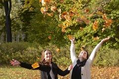 Amies jetant des feuilles Photographie stock libre de droits