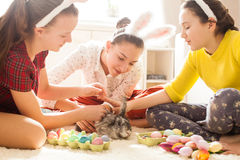 Amies jouant avec le lapin Image stock