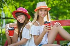 Amies joyeuses ayant l'amusement sur l'oscillation extérieure Concept d'amitié Images stock