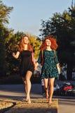 Amies marchant en parc nu-pieds Image stock
