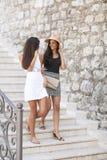 Amies marchant pendant l'été Photo stock