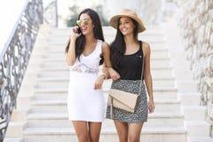 Amies marchant pendant l'été Image stock