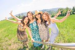 Amies multiraciales prenant le selfie au pique-nique de pays Photographie stock