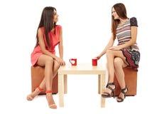Amies parlant au-dessus d'une tasse de thé Photographie stock