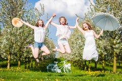 3 amies sautent Image libre de droits