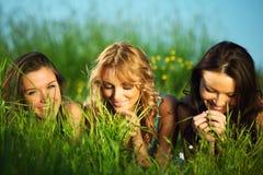Amies sur l'herbe Image libre de droits
