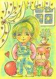 Amiga e brinquedos Imagem de Stock Royalty Free