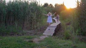 Amigas ativas alegres da criança para correr e jogar na ponte de madeira entre juncos altos verdes no ar livre filme