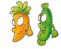 Amigas da cenoura e do abobrinha Imagem de Stock