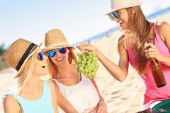 Amigas en comida campestre en la playa Imagenes de archivo