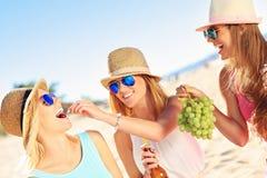 Amigas en comida campestre en la playa Imágenes de archivo libres de regalías