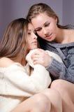 2 amigas encantadoras atractivas hermosas de las mujeres jovenes en suéter con la manicura roja que abraza en fondo gris Foto de archivo