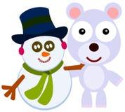 Amigo con un muñeco de nieve Fotos de archivo libres de regalías