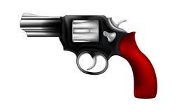 Amigo de senhora fêmea à moda da arma com a arma de aço do punho vermelho no fundo branco Imagem de Stock