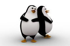 amigo del pingüino 3d dos que inclina en uno a concepto Imagen de archivo libre de regalías
