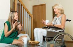 Amigo fêmea que visita a mulher deficiente Fotografia de Stock Royalty Free
