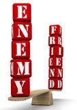 Amigo ou inimigo Comparação nas escalas ilustração do vetor