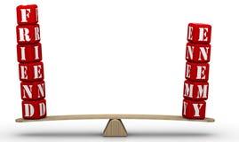 Amigo ou inimigo Comparação nas escalas ilustração royalty free