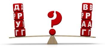 Amigo ou inimigo Compara??o nas escalas ilustração do vetor