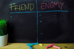 Amigo ou inimigo escrito com conceito do giz da cor no quadro-negro fotos de stock