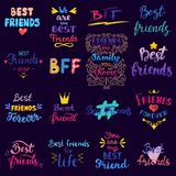 Amigo que pone letras a tipografía de la tarjeta de la amistad del vector BFF y al ejemplo amistoso de la muestra del mejor amigo libre illustration