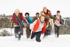 Amigos adolescentes que se divierten en el paisaje Nevado foto de archivo