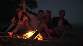 Amigos alegres jovenes que se sientan por el fuego en la playa por la tarde, las canciones del canto y la cerveza de consumición  almacen de video