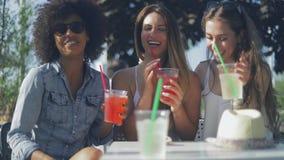 Amigos alegres que disfrutan de bebidas almacen de video