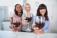 Amigos alegres que tuestan a la cámara con los vidrios de vino rojo Fotografía de archivo