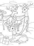 Amigos animales de la historieta del colorante de los niños en naturaleza Papá Noel en el Polo Norte al lado de trineos y de cier Fotografía de archivo libre de regalías