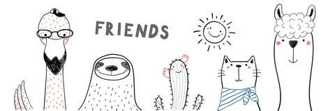 Amigos animales lindos libre illustration