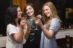 Amigos bonitos que têm uma bebida junto Fotografia de Stock Royalty Free