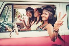 Amigos con la guitarra en un viaje por carretera Foto de archivo