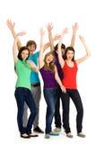 Amigos con los brazos levantados Fotografía de archivo libre de regalías