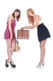 Amigos con los panieres aislados Fotos de archivo libres de regalías