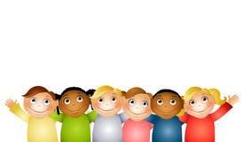 Amigos das crianças do Hug do grupo Fotos de Stock