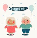 Amigos das crianças do verão com Baloons ilustração stock