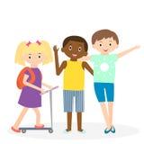 Amigos das crianças Tempo de lazer de três amigos junto ilustração royalty free