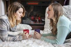 Amigos das mulheres no inverno que falam na frente do fogo foto de stock