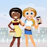 Amigos de diversas razas ilustración del vector