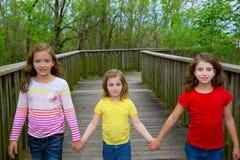 Amigos de la hermana que caminan llevando a cabo las manos en la madera del lago Foto de archivo libre de regalías