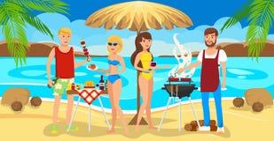 Amigos de la reunión en la playa Barbacoa en la playa ilustración del vector