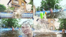 Amigos de los adolescentes que se divierten que salta en la piscina - collage almacen de metraje de vídeo