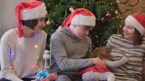 Amigos de los adultos que juegan con una niña cerca del árbol de navidad Reuniones amistosas cerca del árbol de navidad con imágenes de archivo libres de regalías