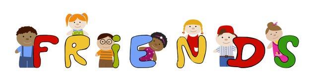 Amigos de los niños Amistad de Muliracial stock de ilustración