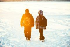 Amigos de los niños que caminan con las mochilas de la escuela fotografía de archivo libre de regalías