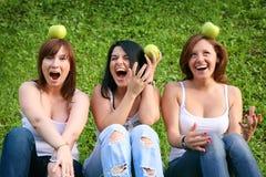 Amigos de muchacha con las manzanas en el parque Imágenes de archivo libres de regalías