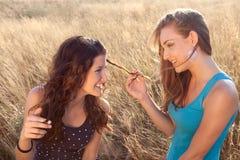 Amigos de muchacha en campo de trigo Imagenes de archivo