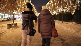 Amigos de muchachas de la vista posterior que caminan a lo largo del callejón de la noche adornado por la guirnalda almacen de metraje de vídeo