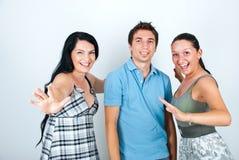 Amigos de risa felices Imágenes de archivo libres de regalías